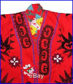 Very Special Uzbek Silk Embroidery Robe Chapan Jacket Coat Lady With Deer A11010