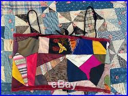 Vintage 1940s Crazy Quilt Silk Corset Top Blouse Antique Victorian Embroidery