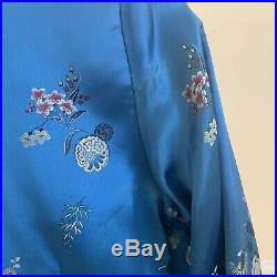 Vintage 50s Antique Floral Silk Embroidery Robe Chinese Chore House Coat Lounge