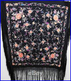 Vintage Antique 1920s Colorful Heavy Embroidered Floral Canton Silk Piano Shawl
