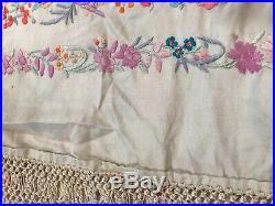 Vintage Antique Finest Silk Spanish Piano Manton Flamenco Shawl Birds Purples