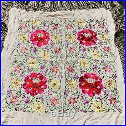 Vintage Canton Piano Flamenco Shawl Scarf Bright Embroidered Flowers Peach Silk