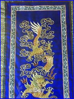 Vintage Chinese Gold Dragons on Silk Embroidery Tapestry, Framed, 26 x 11 1/2
