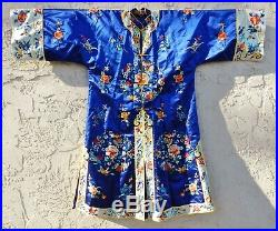 Vintage Chinese Pure Silk Blue Mandarin Robe Forbidden Embroidery