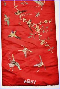 Vintage Chinese Silk Embroidery Panel Textile Tapestry Plum Blossom Bird 180CM