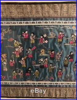 Vintage Chinese Silk Embroidery Tapestry Hundred Children Framed