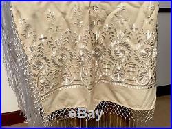 Vintage Cream Cotton & White Silk Embroidered Tasseled Shawl