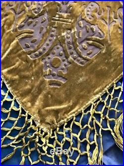 Vintage Crush Gold Velvet on Silk Fringe Scarf