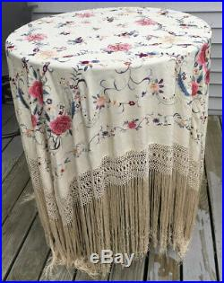 Vintage Embroidered Off-White Silk Canton Manton Piano Shawl