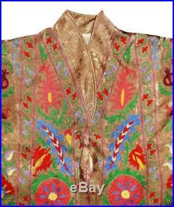 Vintage Gorgeous Uzbek Silk Embroidered Robe From Bukhara A12778
