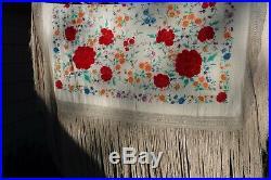 Vintage Manton de Manila Embroidered Silk Shawl Piano Scarf Large 23 Fringe