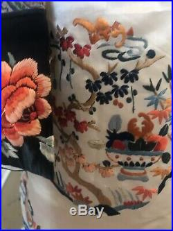 Vintage Nehru Asian Cream Silk Forbidden Stitch Embroidery Jacket Pants Ornate