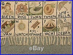 Vintage Silk On Cotton Chain Stitch Alphabetical Wall Hanging