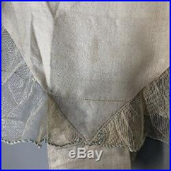 Vtg 20s Step In Silk Flapper Edwardian Antique Open Lace Needlework Embroidery
