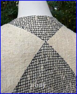 Vtg Geoffrey Beene Raw Silk Jacket & Skirt Suit Set Tan Black Embroidery 2pc XS