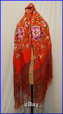 Vtg SILK Embroidered PIANO SHAWL Chinese Red Lush Flowers Fringe 1920s Flapper