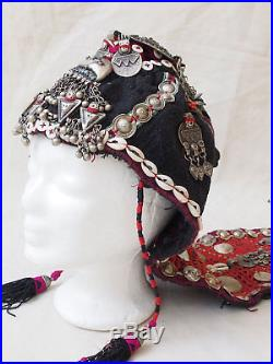 Women girl embroidered wedding headdress hat cap Nuristan